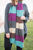 scarf, sweater material, mint, brown, tan, gray, magenta, striped, comfy, fall, winter