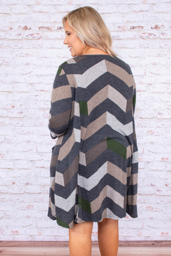 dress, short, three quarter sleeve, pockets, flowy, comfy, olive, charcoal, tan, gray, chevron, fall, winter