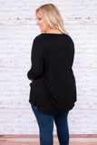 shirt, long sleeve, vneck, crisscross neckline, long, curved hem, loose, black, comfy, fall, winter