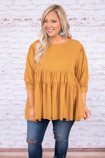 shirt, three quarter sleeve, bubble sleeves, babydoll, ruffles, flowy, mustard, comfy
