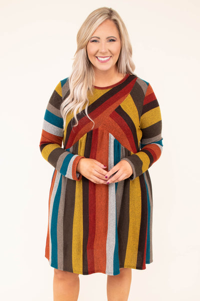 dress, long sleeve, babydoll, flowy, burgundy, mustard, gray, teal, brown, striped, comfy, fall, winter