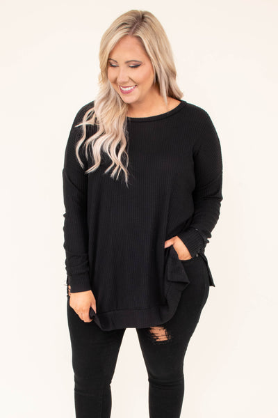 tunic, long sleeve, long, side slits, waffle knit, black, comfy, flowy, fall, winter