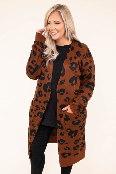 cardigan, long sleeve, long, pockets, flowy, mocha, black, leopard, outerwear, fall, winter, comfy