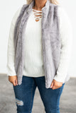 vest, zipper, gray, solid, fuzzy, outerwear, comfy, fall, winter
