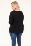 shirt, long sleeve, vneck, knotted hem, short, longer back, comfy, black, fall, winter