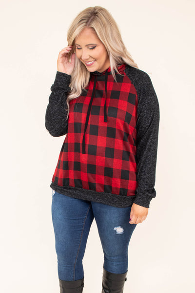 hoodie, long sleeve, hood, drawstrings, short, red, black, plaid, black sleeves, black hem, comfy, outerwear, fall, winter
