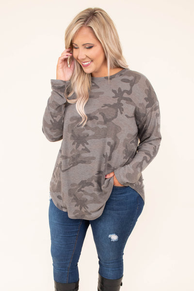 shirt, long sleeve, curved hem, flowy, gray, camo, comfy, fall, winter