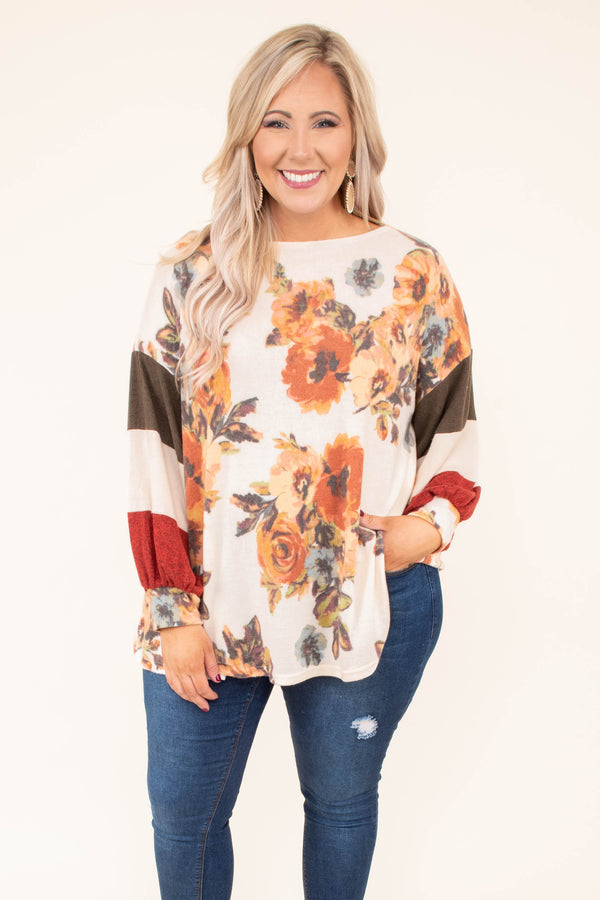 shirt, long sleeve, bota neck, bubble sleeves, long, flowy, white, floral, orange, blue, green, colorblock sleeves, comfy, fall, winter
