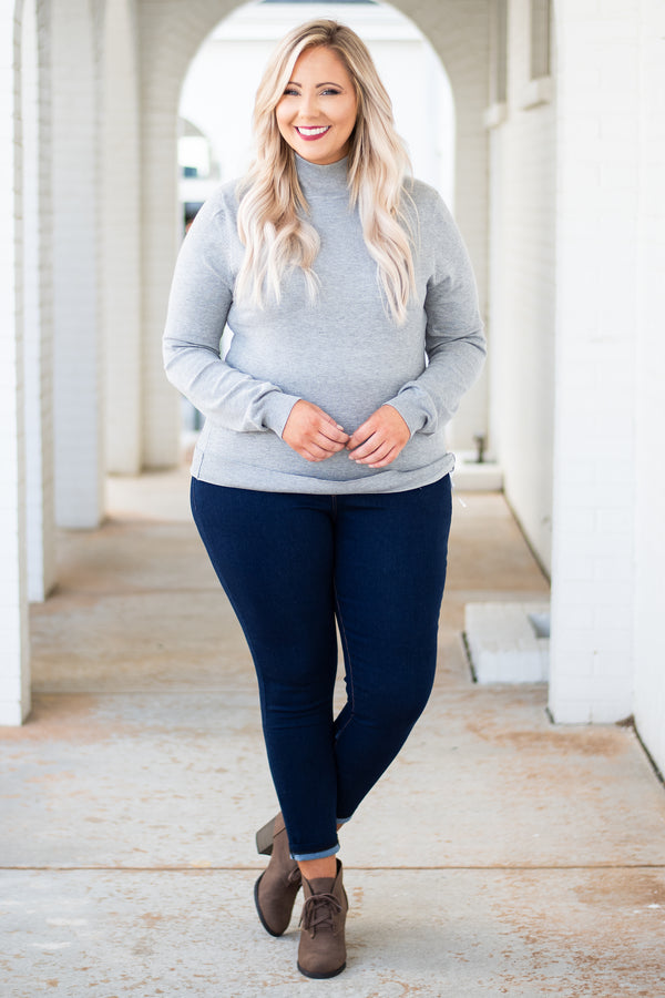 top, sweater, gray, turtleneck, long sleeve, cozy