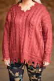 sweater, long sleeve, vneck, long, knitted, red, distressed hems, comfy, fall, winter