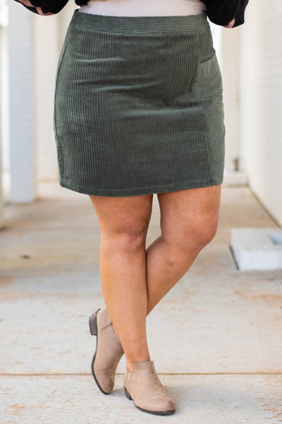 skirt, short, corduroy, olive, fall, winter