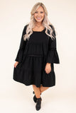 dress, short, three quarter sleeve, square neckline, crochet details, bell sleeves, babydoll, ruffles, flowy, black, comfy, fall, winter
