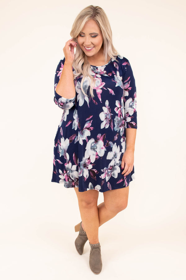dress, short, three quarter sleeve, pockets, flowy, navy, floral, white, gray, pink, comfy