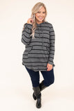 hoodie, long sleeve, hood, drawstrings, front pocket, curved hem, flowy, thin, charcoal, black, striped, comfy, outerwear