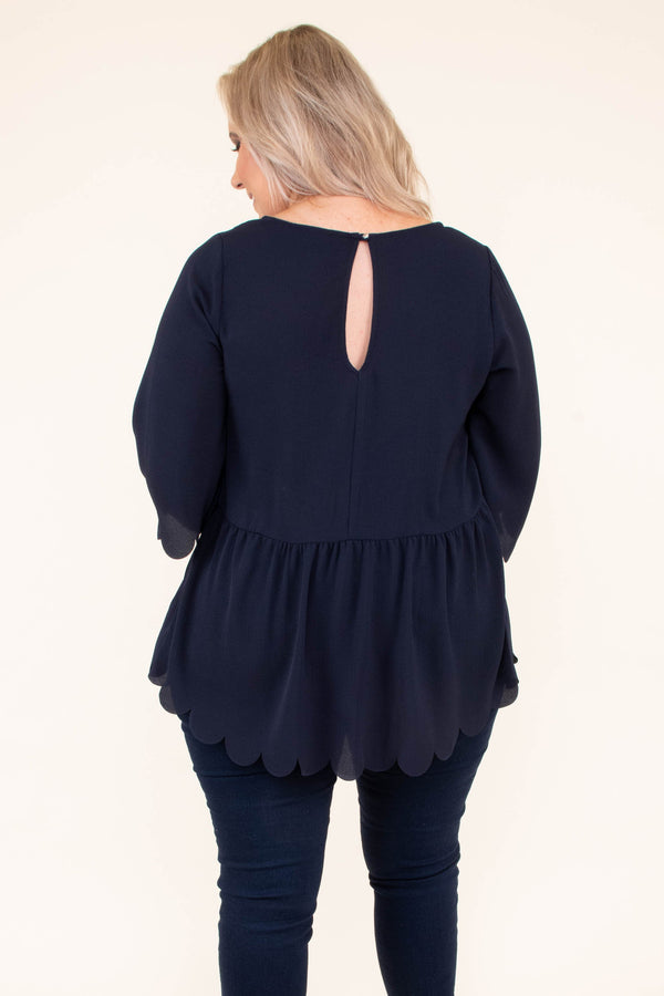 shirt, three quarter sleeve, babydoll, scalloped sleeves, scalloped hem, longer back, navy, solid, keyhole back, flowy