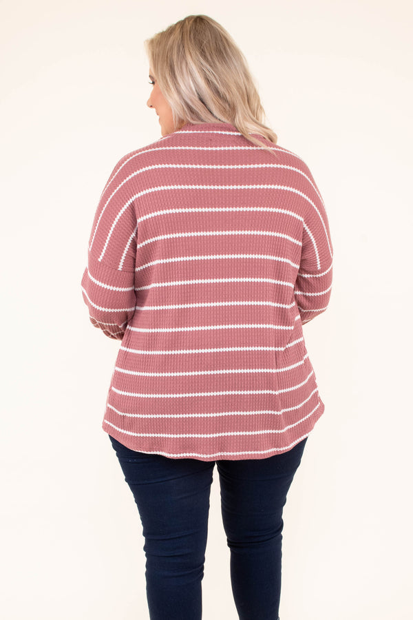 shirt, long sleeve, vneck cutout, loose, bubble sleeve, mauve, white, striped, comfy, fall, winter