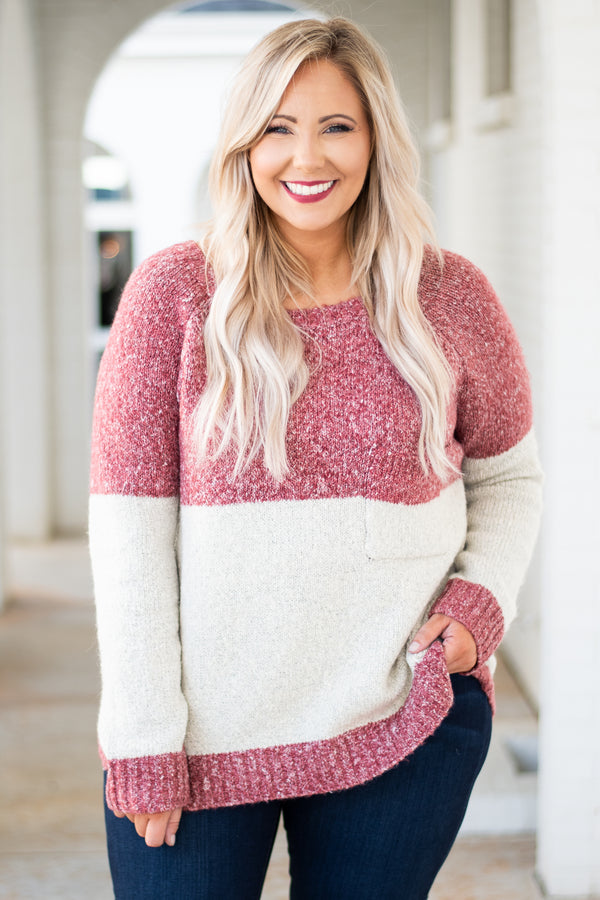 sweater, long sleeve, red, white, colorblock, fuzzy, comfy, fall, winter