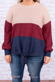 sweater, long sleeve, bubble sleeves, tie front, short, longer back, taupe, burgundy, navy, colorblock, comfy, fall, winter