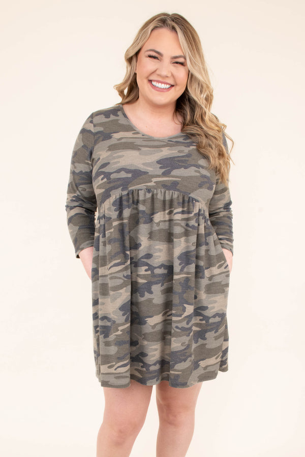 dress, short, three quarter sleeve, babydoll, flowy, green, camo, comfy
