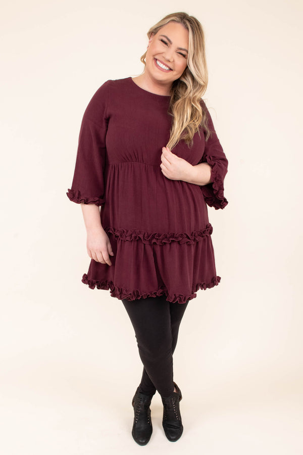dress, short, long sleeve, loose sleeves, ruffles, flowy, wine, comfy, fall, winter
