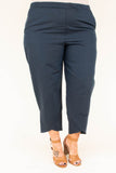 pants, navy, blue, solid, above the ankle, elastic waistband