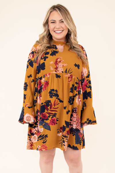 dress, short, long sleeve, bell sleeves, high neckline, vneck cutout, babydoll, flowy, toffee, floral, black, red, pink, comfy