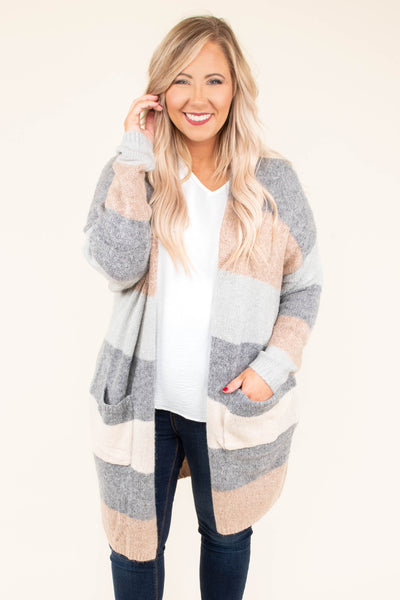 cardigan, long sleeve, long, pockets, gray, pink, blue, pastel, striped, comfy, outerwear, fall, winter