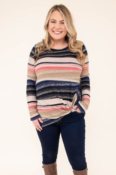 sweater, long sleeve, twisted hem, fitted, black, tan, pink, navy, striped, comfy, fall, winter