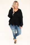 sweater, long sleeves, vneck, fringe, black, solid, warm, cozy, comfy, fall, winter