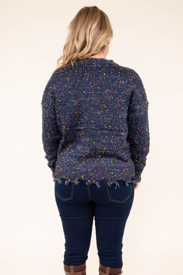 sweater, long sleeve, short, distressed hem, navy, multicolor speckles, comfy, fall, winter