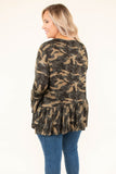 top, three quarter sleeve, babydoll, ruffle hem, ruffle sleeve, camo, camouflage, olive, tan