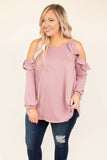 top, blouse, long sleeve, cold shoulder, ruffle, mauve