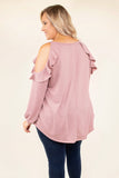 shirt, long sleeve, cold shoulder, ruffle shoulder, curved hem, bubble sleeves, flowy, mauve, comfy