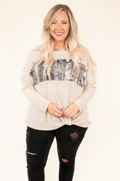 top, long sleeve, colorbock, tan, snake print, grey, knot detail, cozy