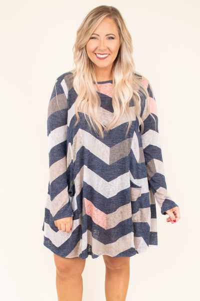 dress, short, long sleeve, pockets, chevron, navy, pink, taupe
