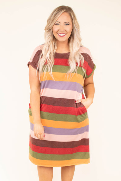 dress, short, short sleeve, pockets, multi colored, brown, red, green, orange, purple, pink, striped