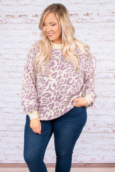 sweater, long sleeve, bubble sleeves, short, lavender, tan, leopard, comfy, fall, winter