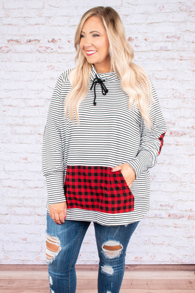 pullover, long sleeve, cowl neck, drawstring neck, front pockets, white, black, striped, plaid pocket, plaid elbow patches, red, comfy, outerwear, fall, winter
