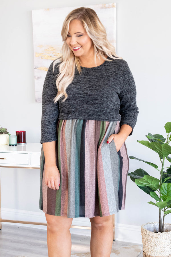 dress, short, soft, flowy, neutral, stripes, charcoal, fall, flattering, three quarter sleeve