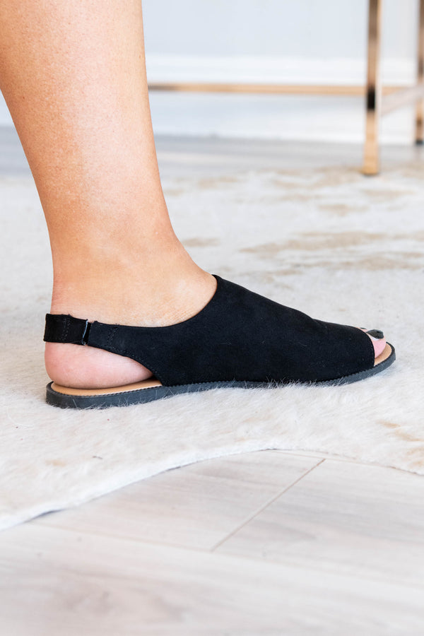 flats, black, ankle strap, open toe, sling back