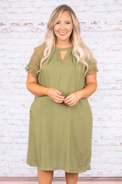 Time In A Bottle Dress, Olive