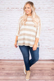 shirt, three quarter sleeve, side slit, taupe, white, striped, flowy, comfy
