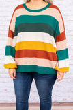 sweater, long sleeve, bubble sleeves, orange, peach, green, white, mustard, striped, comfy, fall, winter