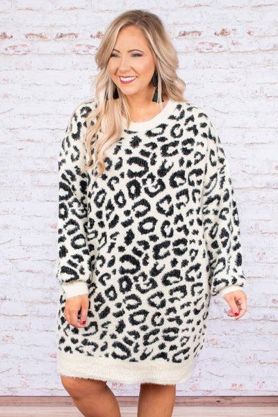 dress, short, long sleeve, sweater, white, black, leopard, fuzzy, comfy, fall, winter
