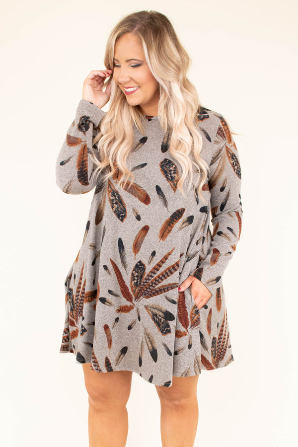 dress, short, long sleeve, flowy, mocha, feathers, brown, gray, comfy, fall, winter