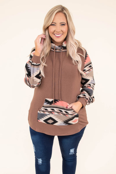 hoodie, long sleeve, cowl neck, drawstrings, curved hem, pocket, brown, aztec sleeves, aztec neckline, aztec pocket, black, pink, blue, comfy, outerwear, fall, winter