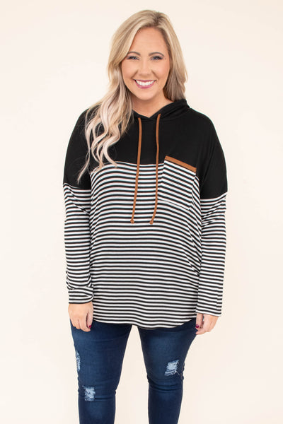 hoodie, long sleeve, hood, drawstrings, chest pocket, curved hem, loose, white, black, stripes, colorblock, brown details, comfy, outerwear