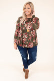 shirt, long sleeve, babydoll, curved hem, short sides, flowy, olive, floral, red, white, comfy, fall, winter