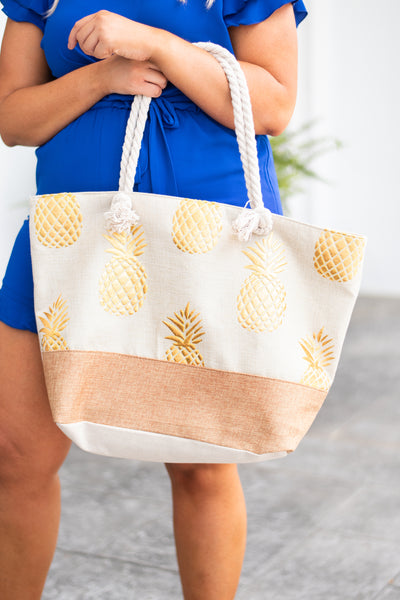 accessory, bag, tote, rope, tan, blush, gold, pineapple print