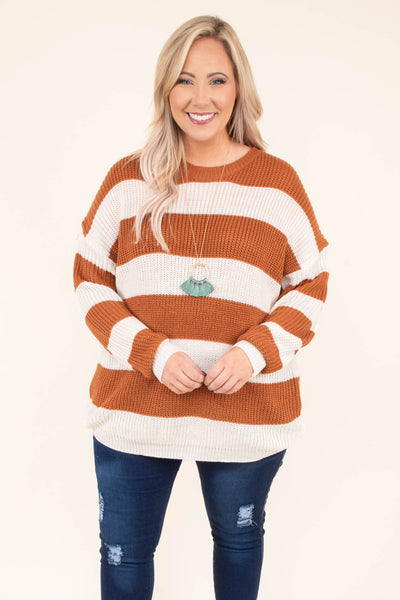 sweater, long sleeve, long, cable knit, rust, white, striped, comfy, fall, winter